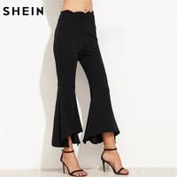 سراويل النساء shein لياقة الملابس السراويل النسائية السراويل اندلع التقوقع الخصر غير المتكافئة المرأة السوداء