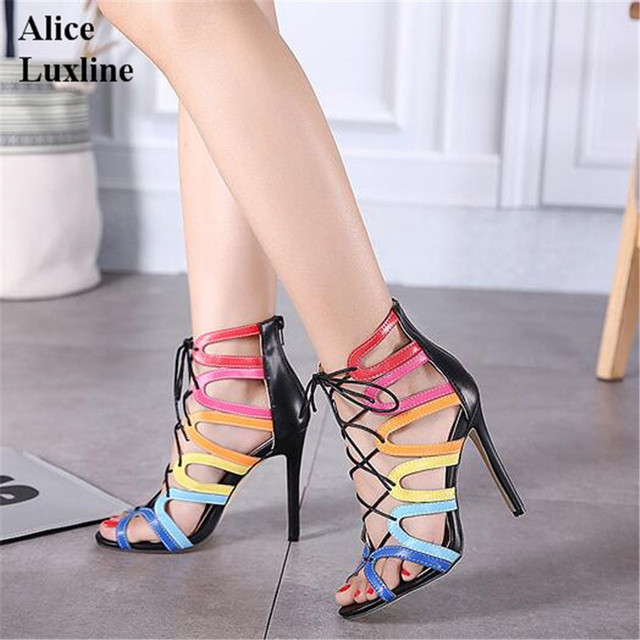 Fashion Women Sandals Design gladiator High Heels Sexy Open Toe Cut Outs Women Shoes Lace Up Woman Pumps Sandalias Mujer 40 size