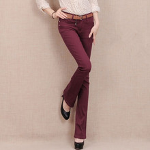 7 конфеты Цвет плюс размер джинсовые тощий ПР джинсы Конфеты цветные клеш женщин комбинезоны эластичные брюки карандаш AA106