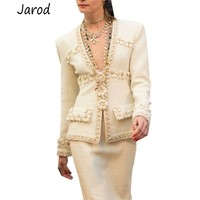2019 spring/fall Women Deep V Neck luxury 3D Flower Beading Tweed Jacket slim coat elegant designer runway outerwear