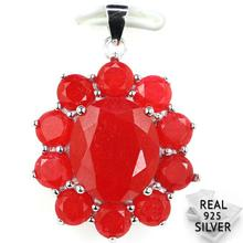 Guaranteed Real 925 Solid Sterling Silver 5.4g Luxury Red Ruby CZ SheType Womans Pendant 33x23mm