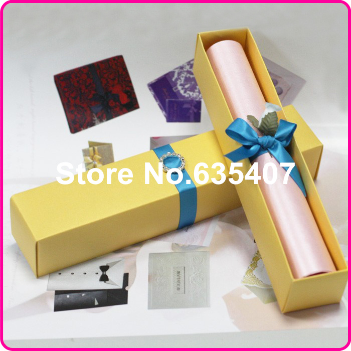 orange 3d scroll box Wedding invitation card With Blue Luxury Buckle ...