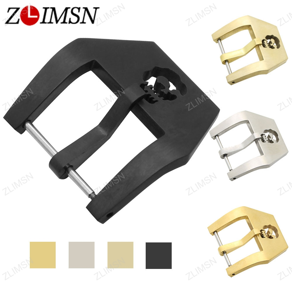 ZLIMSN Stainless Steel Watch Buckle Solid Silver Gold Brushed Skull Watchbands Band Strap Screw-In Clasp 20 22 24 26mm K55 zlimsn high quality thick genuine leather watchbands 20 22 24 26mm brown watch strap 316l brushed silver stainless steel buckle