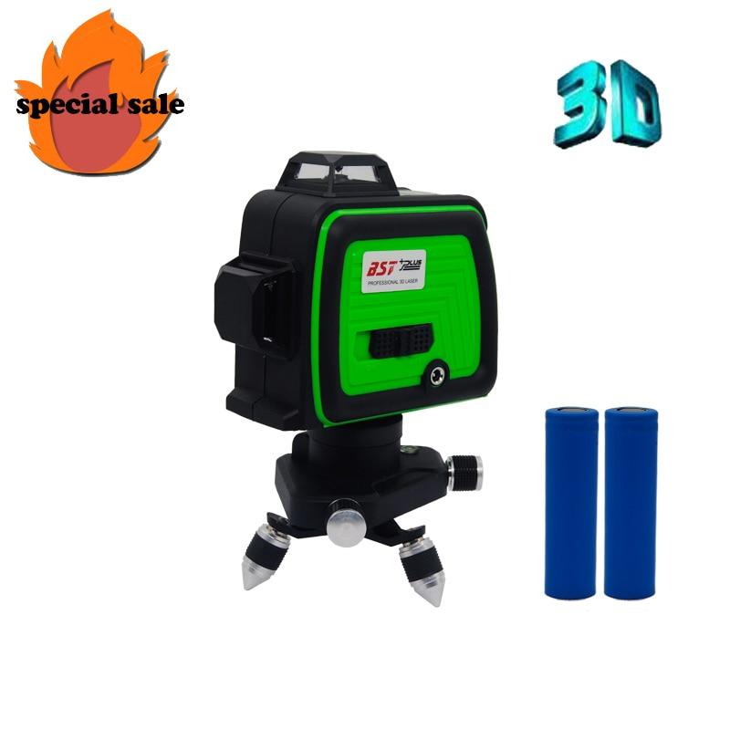 12 linien 3D BLAU LINIE Laser Ebene Selbst Nivellierung 360 Horizontale Und Vertikale Kreuz Super Leistungsstarke Laser Strahl Linie BST + PLUS