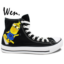 Wen Hand Painted Canvas Shoes Design Custom Despicable Me Mechanic Minions Black High Top Canvas Sneakers for Men Women