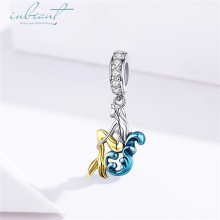 inbeaut Hot Sale 100% 925 Sterling Silver Enamel fit Pandora Bracelet Cute Mermaid Charms Yellow Tail Fish DIY Bangle Beads Gift