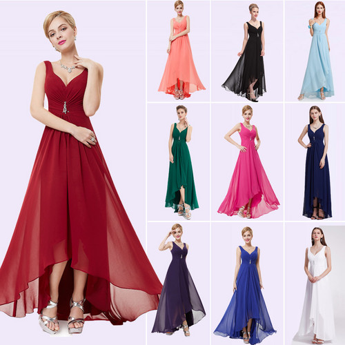 Long Evening Dresses Ever Pretty Plus Size EP09983BK Double V Neck Rhinestones High Low Weddings Events Special Occasion Dresses
