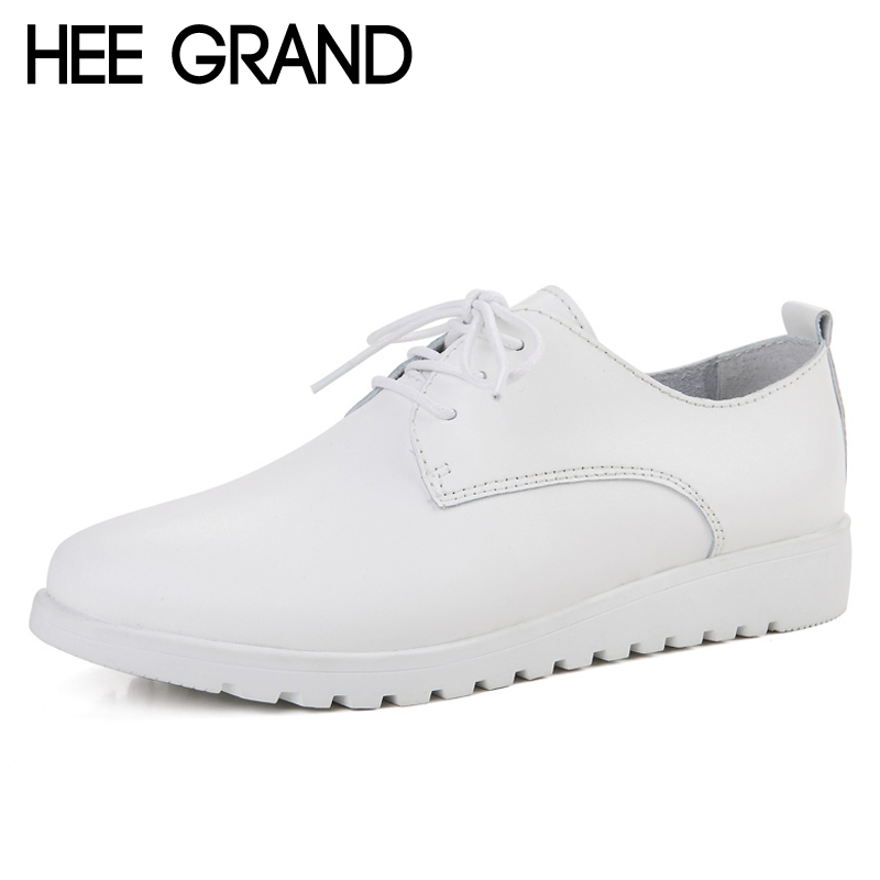HEE GRAND White Flats Shoes Woman Loafers Comfort Slip On Lace Up Casual Women Shoes Creepers Platform Plus Size 35-40 XWD6465 minika women shoes summer flats breathable lace loafers platform wedges lose weight creepers platform slip on shoes woman cd41