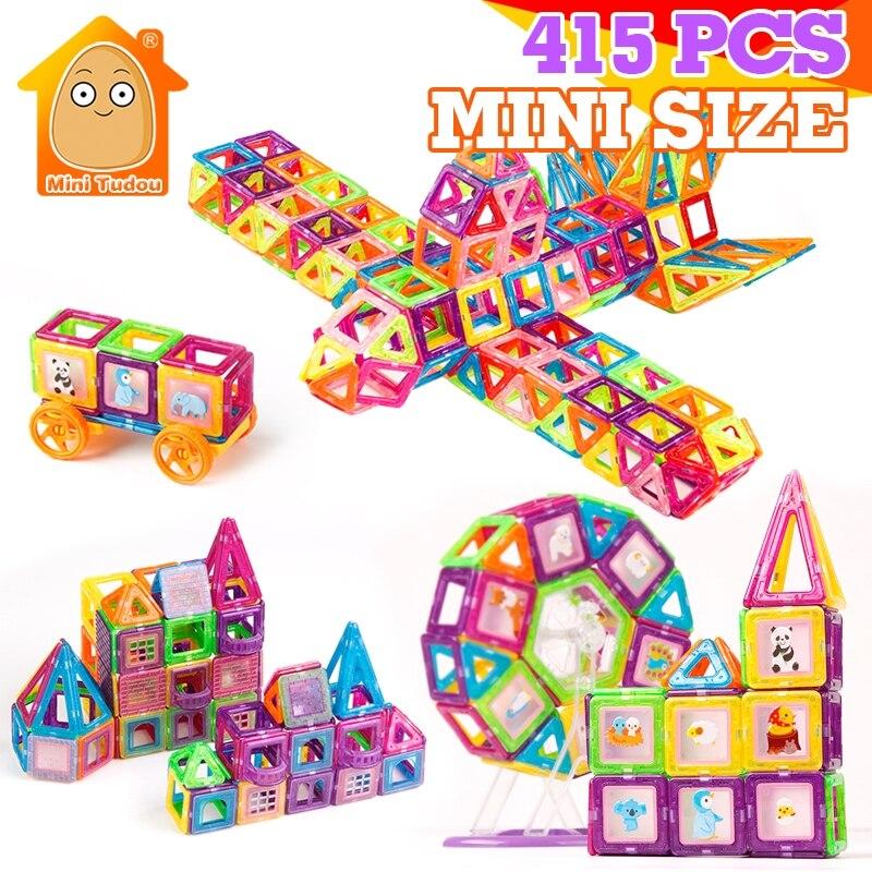 415 pièces Mini blocs magnétiques aimant modèles jouet de Construction Construction magnétique briques de concepteur jouets magnétiques éducatifs enfants cadeau