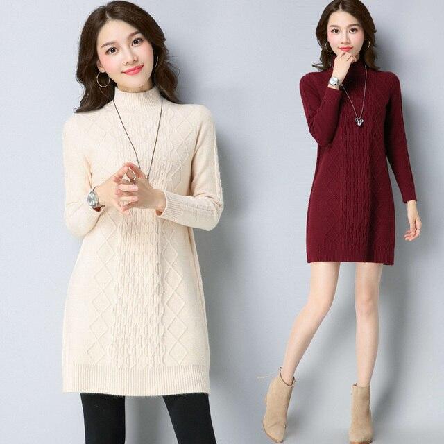 adfa57b137334 2018 Autumn Winter Sweater Dress Women Long Wool Knitted Dress Plus Size Female  Cashmere Dress Knitwear Pullover Vestidos