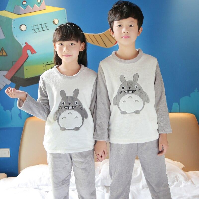 Winter Children Fleece   Pajamas   Thicken Warm Flannel Sleepwear Girls Loungewear Coral Fleece Kids Pijamas Homewear Pyjama   Sets