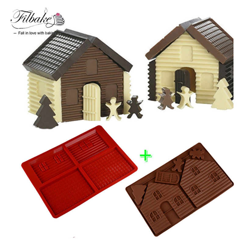 FILBAKE Baking Tools DIY 3D Jul Gingerbread House Set 2PCS Silikon Mold Chocolate Cake Mold For Make Kaker Take