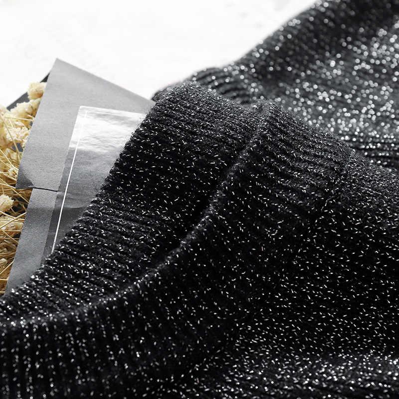 SINGRAIN Lucido Lurex maglione lavorato a maglia delle donne knit top maglione autunno inverno caldo tricot Jupe Femme più il formato Coreano cime di base