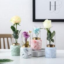 Nordic Minimalist Marble Glass Cover Vase Large Gold Ceramic Modern Creative Flower Pot Tabletop Wedding Home Decor