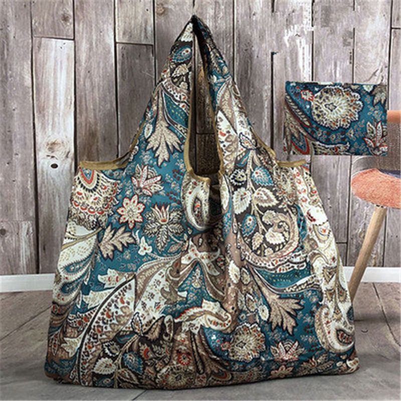 Thick Magic style Nylon Large Tote ECO Reusable Polyester Portable Shoulder Handbag Cartoon Folding Pouch Shopping Bag Foldable in Shopping Bags from Luggage Bags