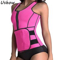 Neoprene Sauna Suit Tank Top Vest Waist Trimmer With Adjustable Waist Trainer Belt Slim Waist