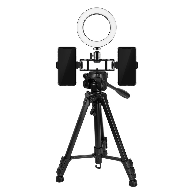 Photo Studio Ring Light 3200 5800K 6 16cm Double Phone Clamp LED Selfie Ring Lamp Photographic Lighting with Tripod VCT 668