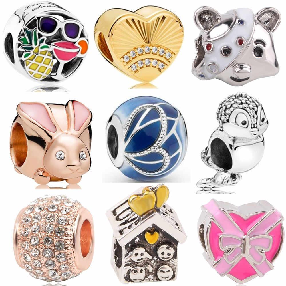 Ranqin Gift Silver Pendant Jewelry Beads Personality Gold Bracelet Charm Fit Pandora Rabbit Bear Bird Original DIY Blue