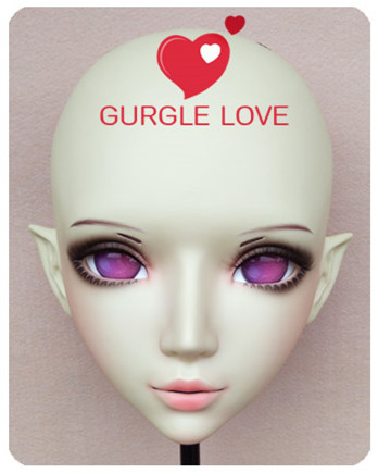 gl047 Strong-Willed Sweet Girl Resin Half Head Bjd Kigurumi Mask With Eyes Cosplay Anime Role Lolita Mask Crossdress Doll