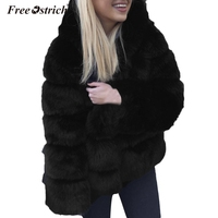 Free Ostrich Faux Fur Coat With Hood Fashion thick warm Loose Black White Gray Faux Fur Jacket long Sleeve Winter Women N30