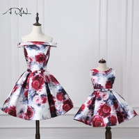 ADLN Mother and Daughter Dress 2018 New Arrival Amazing Floral Formal Evening Prom Dresses A line Mother Daughter Matching
