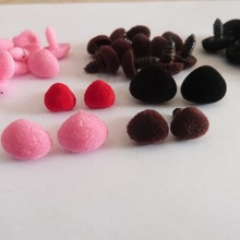 50pcs/lot pink/red/black/brown flocking  Triangular safety toy nose & soft washer for diy doll findings