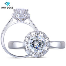 DovEggs 14K White Gold Center 1ct 6mm F Color Special Cut Halo Moissanite Engagement Ring for Women Wedding Gift