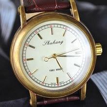 wholesale Golden Designer Mens Hand Mechanical Coffee Strap Watch freeship