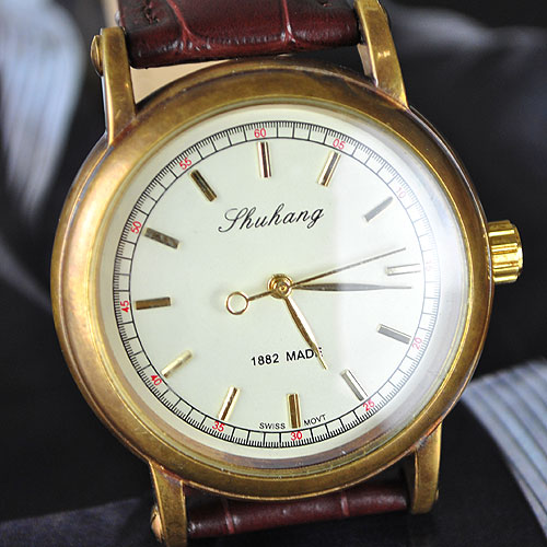 wholesale Golden Designer Mens Hand Mechanical Coffee Strap Watch freeship