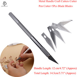 1 conjunto/punho do metal bisturi, lâmina faca de madeira cortador de papel facas caneta artesanato, gravura diy artesanato cortador ferramentas manuais
