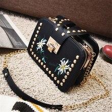 Pequeño bolso 2017 de las mujeres bordado de la manera del bolso del remache tendencia nacional de mini cadena del hombro messenger bag