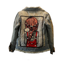 New Fashion Kids baby Girl Crystal Embroidery Denim Jacket Cowboy Outwear Coat Autumn Winter jackets girls casaco infantil 1T-9T(China)