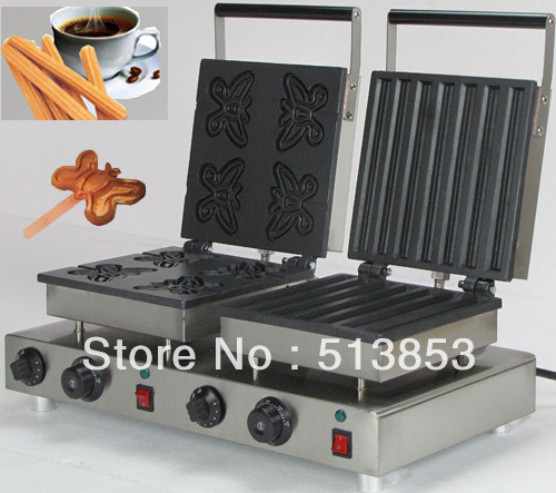 Free Shipping ,2013 hot sale!  Doulbe-Head Electric Churros & Butterfly Waffeleisen Waffle Maker Machine Baker