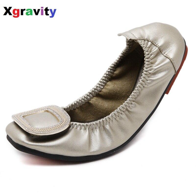 Hot Sale Big Size Crystal Flat Shoe Elegant Comfortable Woman's Leisure Ballet Flats Fashion Woman Student Foldable Shoes C074