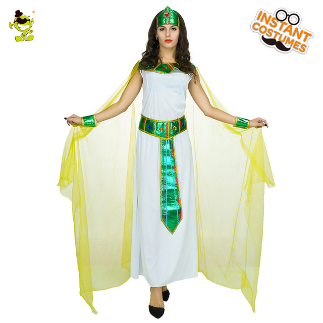 4cf1ab66a13d Women Green Egyptian Cleopatra Costumes with Yellow Cape Women Carnival  Party Glamourous Queen of Egypt Dress-up Fancy Outfits