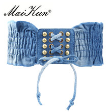 High Fashion Elastic Dress Belts for Women Punk Denim Stretchy Female Skirt Belts All-match Corset Casual Fabric For A Dress(China)