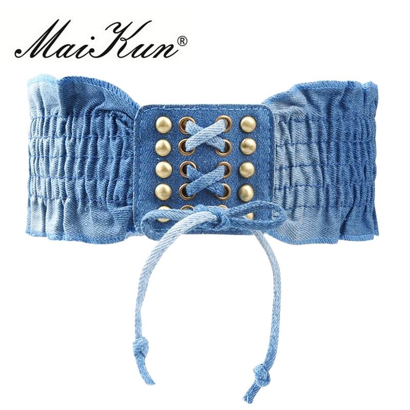 High Fashion Elastic Dress Belts For Women Punk Denim Stretchy Female Skirt Belts All-match Corset Casual Fabric For A Dress
