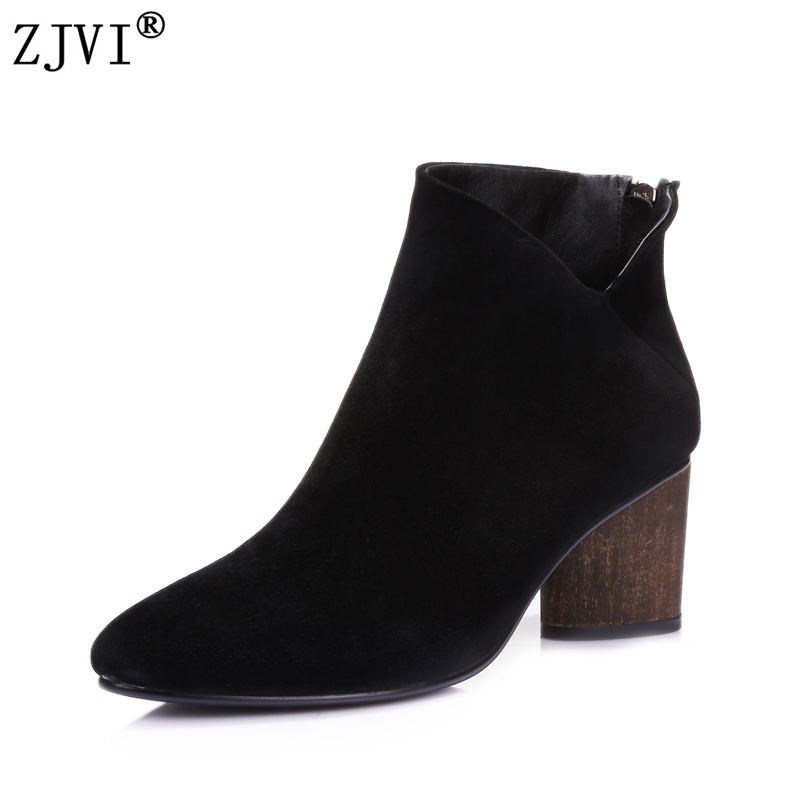 ZJVI Women suede Leather ankle boots woman 2018 autumn thick High Heels boots ladies female nubuck black pointed toe shoes zjvi woman pointed toe thick high heels pumps 2018 women spring autumn lace up shoes ladies women s female nubuck casual pump