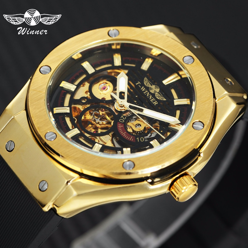 WINNER Top Luxury Brand Men Automatic Mechanical Watch Golden Metal Series 3D Bolt Skeleton Dial Rubber Strap Male Wrist Watches цена