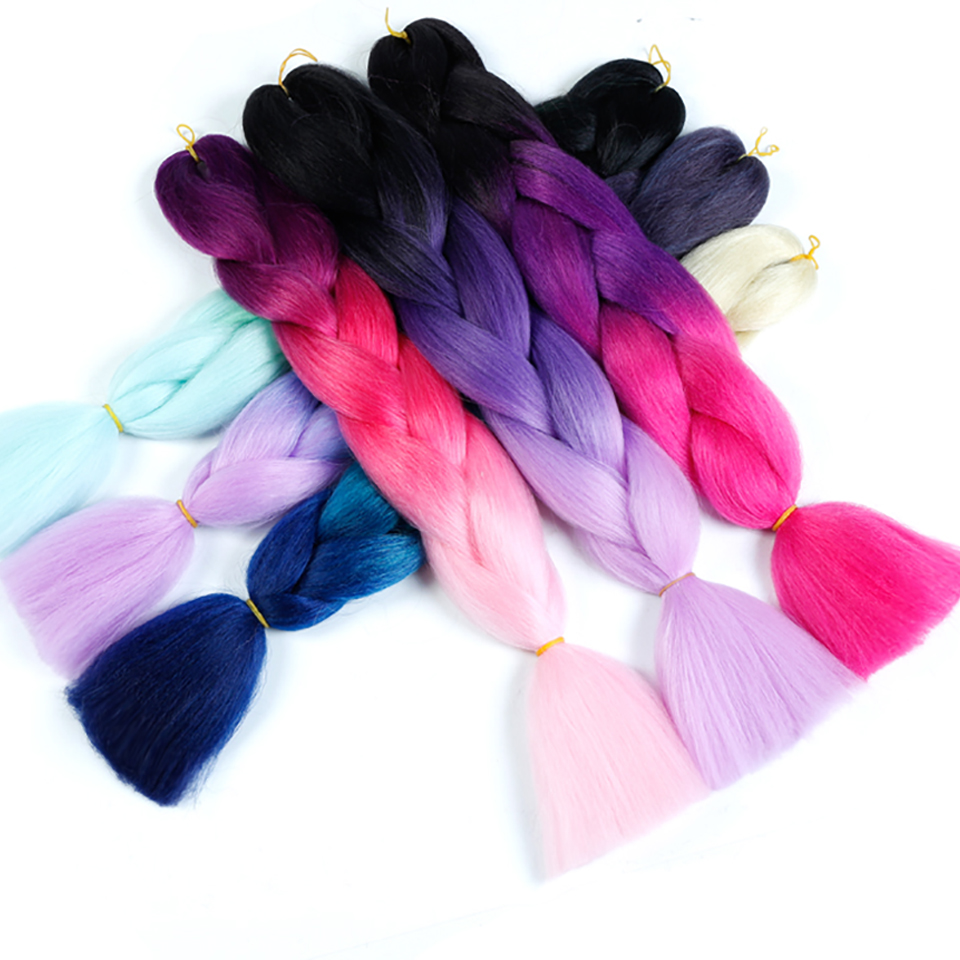 Hair Extensions & Wigs 24 100g/pack Synthetic Kanekalon Jumbo Braids Ombre Braiding Hair Extension For Women Crochet Braids Hairstyle Difei To Produce An Effect Toward Clear Vision