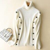 Нерегулярные Свитер с воротником Для женщин зимние плотные Пуловеры Кашемир пуговицы вязаный свитер Топы