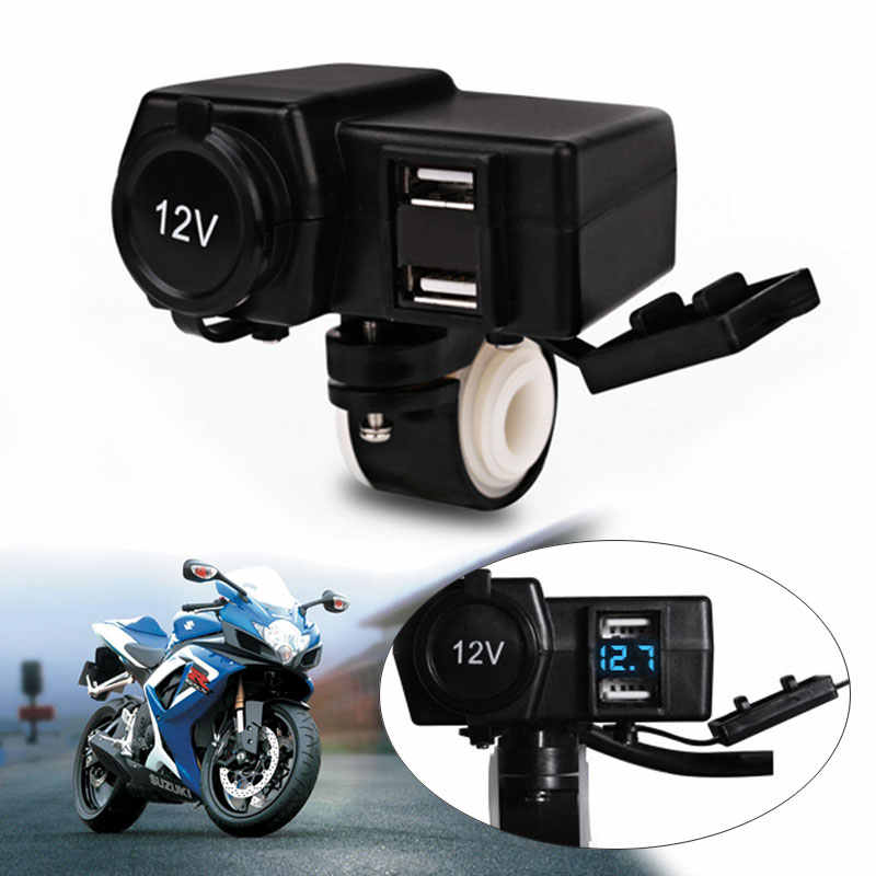 12V/24V 3.1A Car Boat Motorcycle Dual USB Charger LED Voltmeter Cigarette Lighter Socket For iphone Android with switch