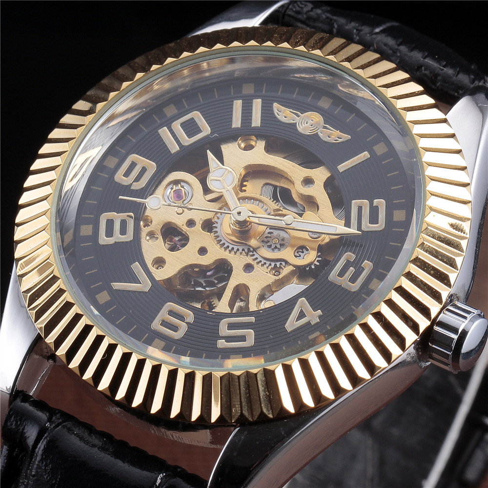 WINNER Watches Men Skeleton Mechanical Business Leather Popular Brand Wrist Watch Automatic Men Clock Gold Watches fr 900 automatic continuous film sealing machine plastic bag package machine expanded food band sealer