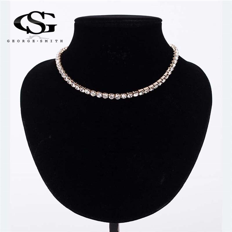 GS New Elegant Dazzling AAA CZ Diamonds Choker Necklace Luxury Tennis Chain  Rhinestone Necklace For Women Jewelry Gift Choker R4 a65508851