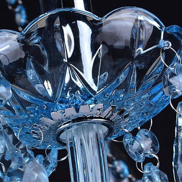 led e14 European Alloy Blue Crystal Chandelier Lighting LED Lamp LED Ligh For Foyer Bedroom Dinning Room Lounge Area Hotel Villa