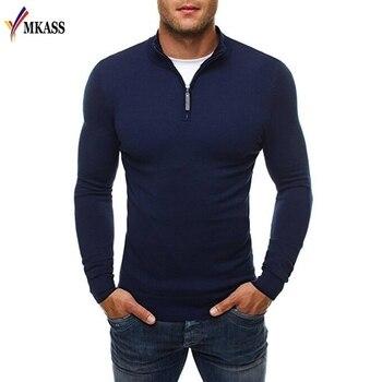 2ea096cdb Nuevo suéter hombres marca casual Slim Suéteres clásico cremallera cuello  alto color sólido simple hombres Polo suéter 3xl
