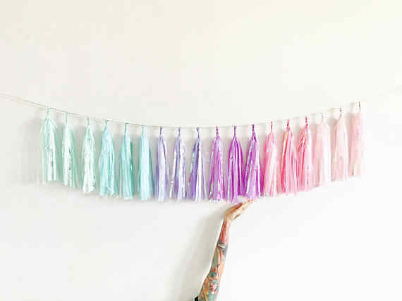 10ft Unicorn Rainbow Sparkle Garland Of 18pcs Tassels 54 Sheets Iridescent Pastel Chair