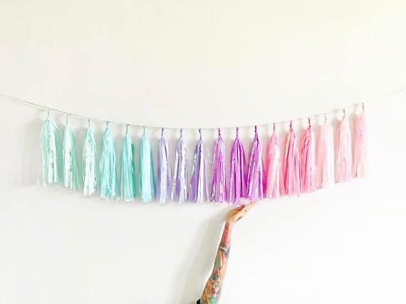 10ft Einhorn Regenbogen Sparkle Garland von 18 stücke quasten (54 blatt)-Irisierend Pastell Stuhl Banner,. geburtstag Dekorationen 1103