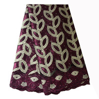 Ourwin African Burgundy Lace Fabric Embroidery Polyester Beaded French Net Lace Fabrics High Quality Latest African Laces 2018