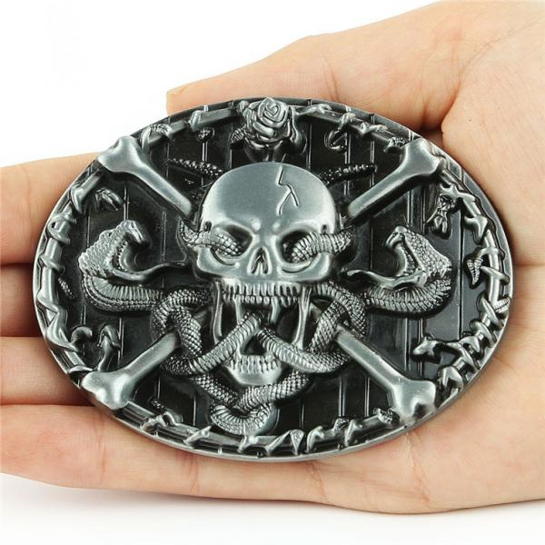 2Pcs Vintage Western Gothic Skull Head Skeleton Rattle Snake Belt Buckle